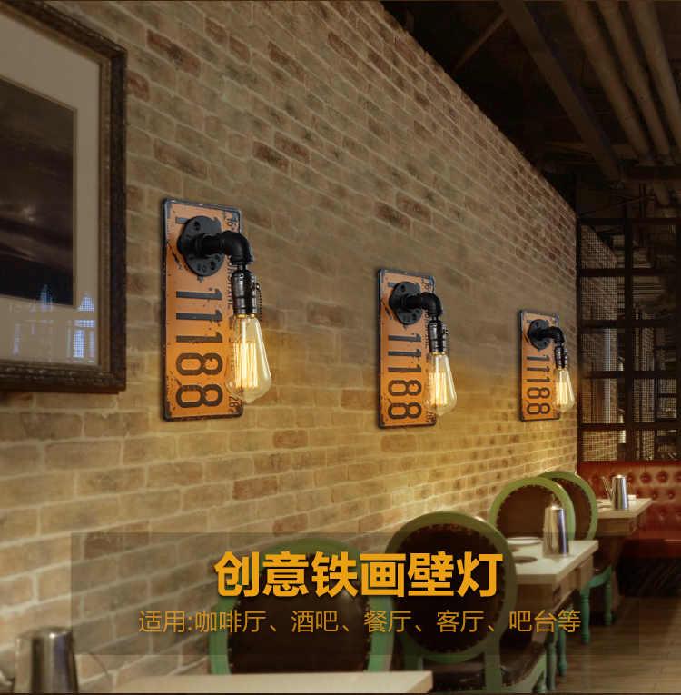 Estilo industrial retro loja de roupas barra corredor varanda criativo restaurante quarto cabeceira placa de licença tubulação água parede