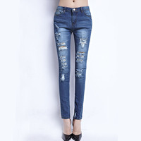 European And American Fashion Ripped Stretch Cotton Broken Hole Pencil Skinny Jeans  ZHN6012