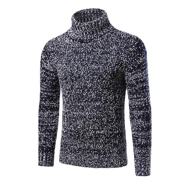 Hombre de Cuello Alto Hombres Suéter 2016 Suéteres de la Marca Suéter Ocasional Slim Fit Knitting Suéteres Para Hombre Hombre Suéter Ropa de Talla grande