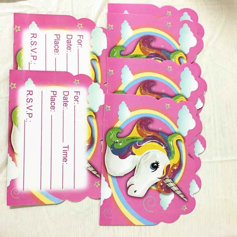 1 24 41 De Descuento 10 Piezas Unicornio Tema Invitaciones Niños Favor Cumpleaños Tarjetas Unicornio Tema Tarjetas Invitaciones In Tarjetas E