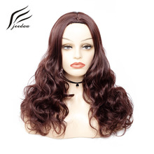jeedou Water Wavy Long Synthetic Hair Wig 65cm 240g Chocolate Brown Mix Color Fl