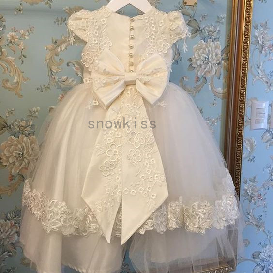 2016 Bling Pearls baby girls Christening gowns baptism dresses for girl boys toddlers outfit short sleeves with two tiered lace christening pearls baby shoes bling pacifier set pearls baby accessories custom for buyer handmade custom princess keepsake