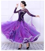 Standard Ballroom Dance Dresses 2018 New High Quality Stage Purple Waltz Dancing Costume Women Ballroom Competition Dress