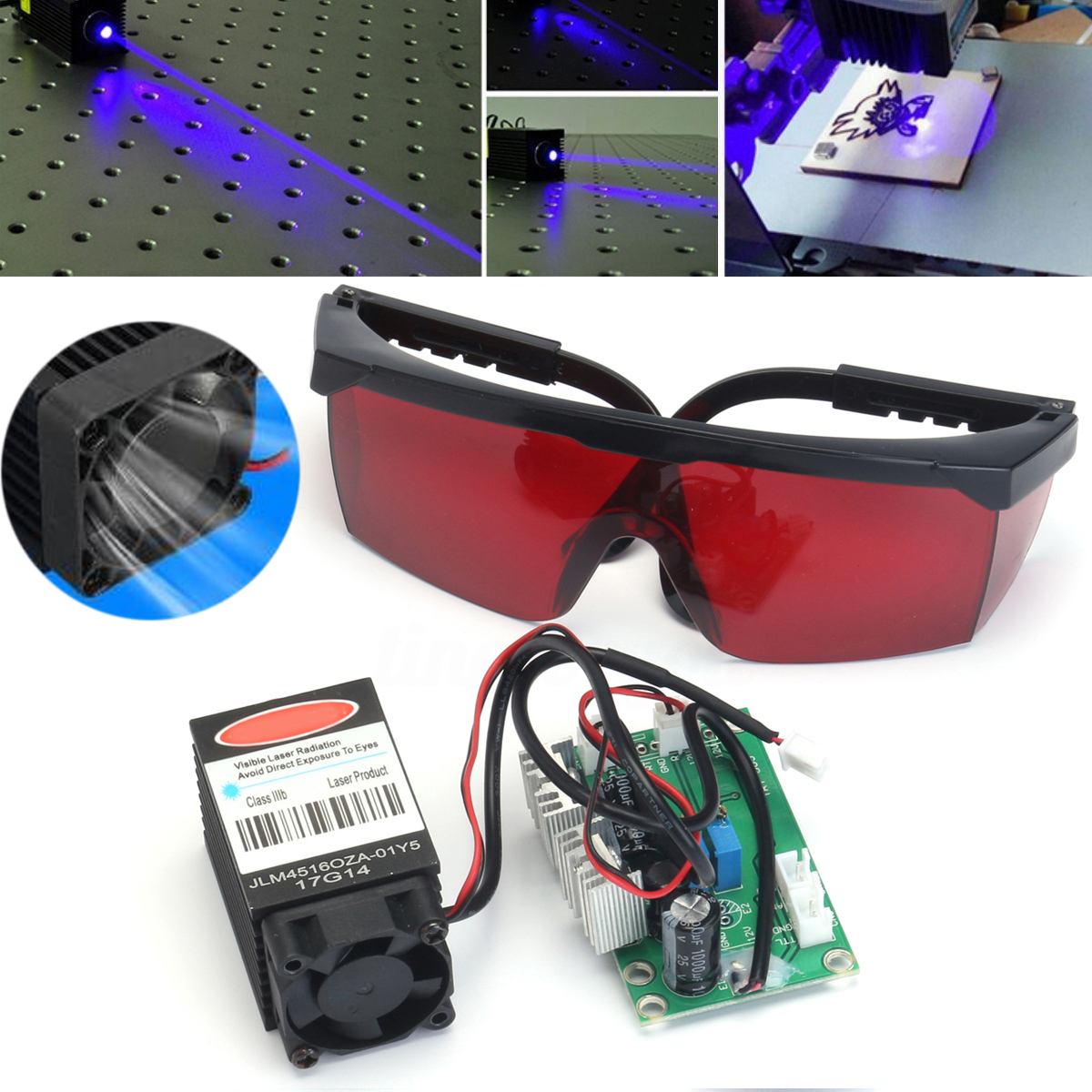 Focusable Blue Laser Diode Dot Module 2000mw Engraver 445nm - 450nm 2W 12V 2A With 405nm Goggles for CNC Laser Cutting Machine 16 50mm 9 0mm laser diode housing w 405nm glass lens