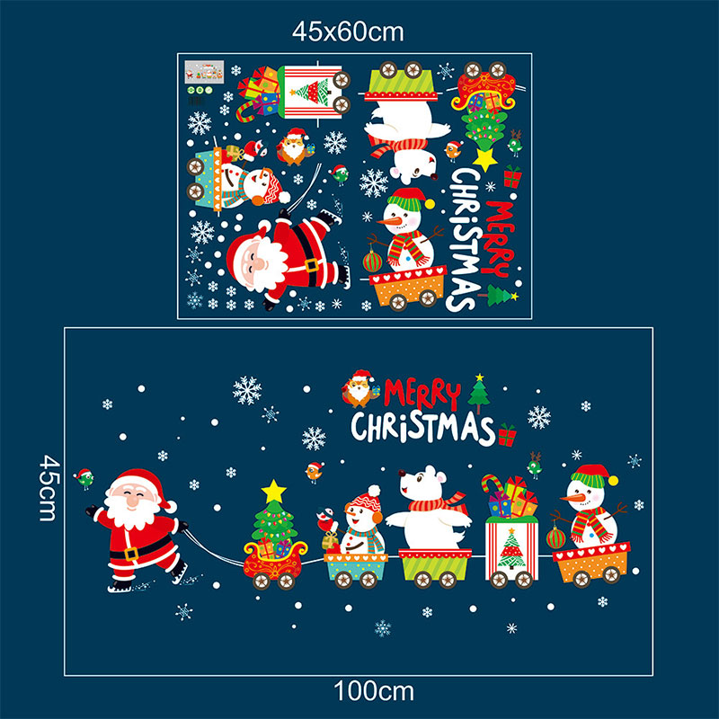 4560cm 2019 Merry Christmas Decorations for Home Santa Claus Pull Train Glass Window New Year Decorative Stickers Navidad Natal (14)