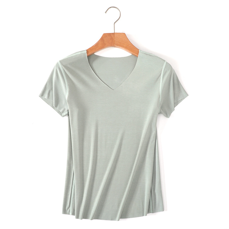 329efedc48b5a Women Essential T Shirt Basic Short Sleeve V Neck Tops Tees Solid Color  Unfinished Viscose Stretch Top