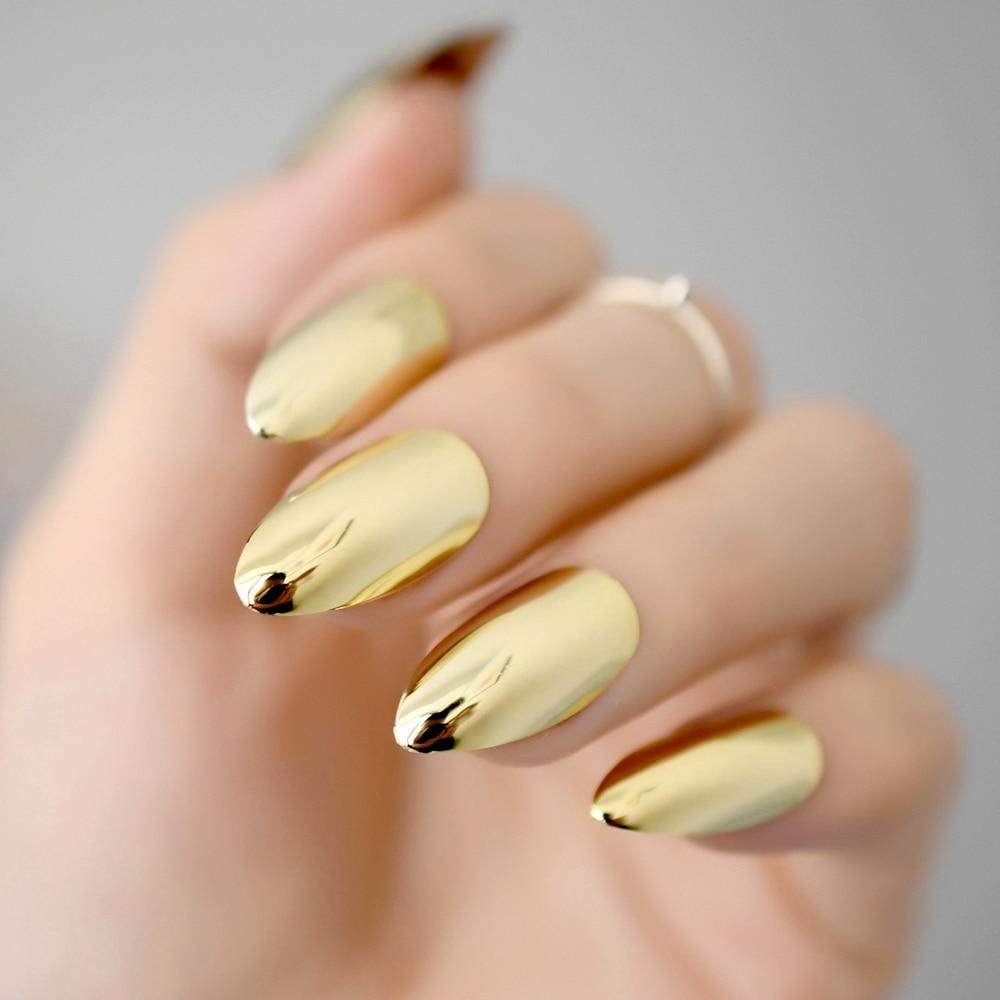 Online Metallic Mirror Bright Gold False Stilettos Nail Yellow Golden Metal Oval Stiletto Sharp Fake Nails Manicure Full Art Tips Aliexpress