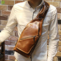 new Fashion Vintage Men Messenger Bags Chest pack Travel  Male leather Casual Chest Small Retro Military Shoulder Bag