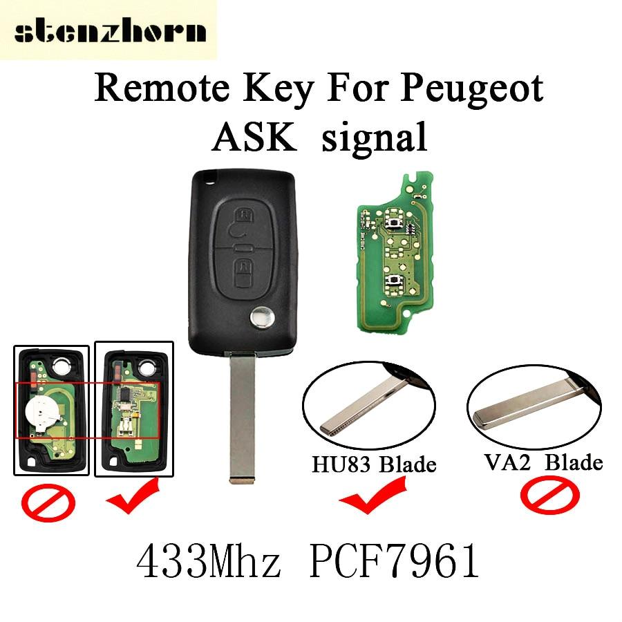 Stenzhorn 2 Boutons Pliant À Distance Clé 433 Mhz Pour Peugeot 207 208 307 308 408 2005-2011 DEMANDER Signal Avec PCF7961 Puce HU83 lame