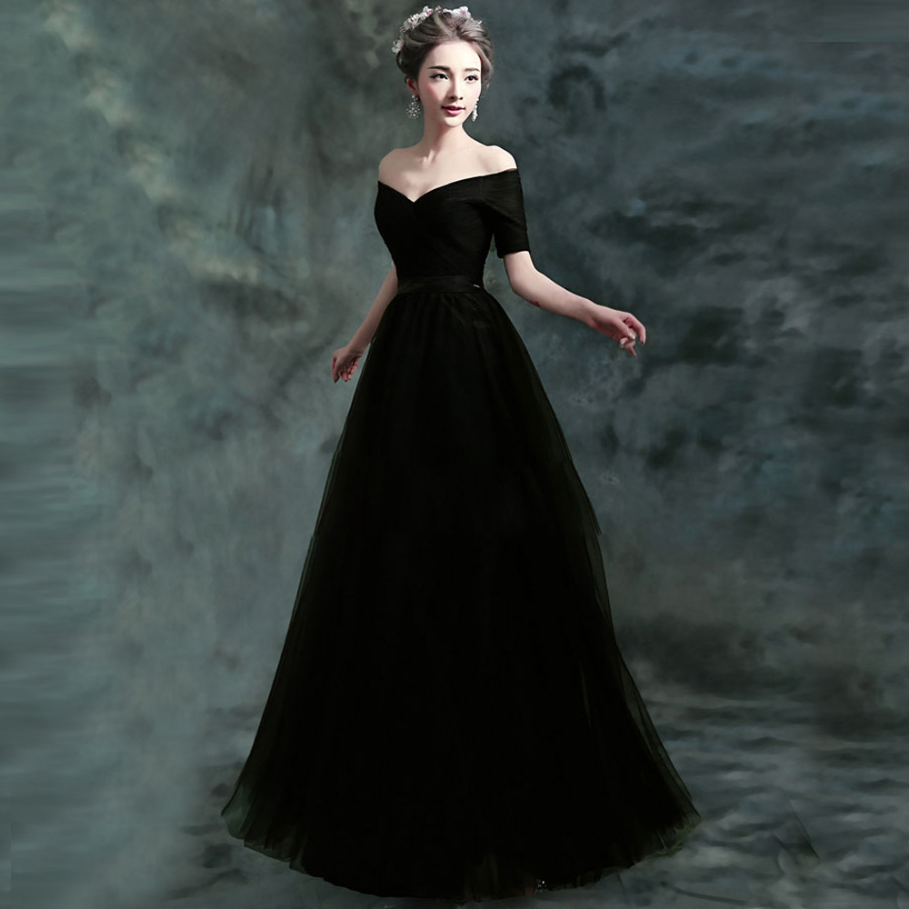 fc4448f4501 new arrived fashionable black deep v neck half sleeve off shoulder slim  long host Prom dress beach lace up Prom Dresses.2837
