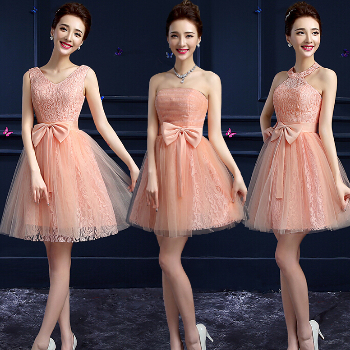 Peach Color Junior Brides Maid Short Tulle Bridesmaid Tea Party Ball Dresses Different Necklines Wear Wedding Guest S With To A For