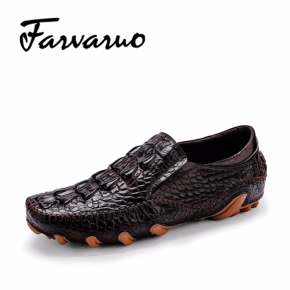 Farvarwo 2018 Driving Moccasins Mens Loafers Luxury Brand Genuine Leather Casual Shoes for Men Slip-ons Italian Crocodile Shoes men s full grain leather shoes casual crocodile driving shoes slip on boat shoes fashion moccasins for men s loafers new quality