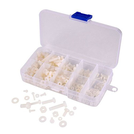 M2 M2.5 M3 M4 M5 (Total 270pcs) Nylon Screw / Nut / Washer Assortment Kit Come with Plastic Box,white 150pcs m3 white hex spacers nylon screw nut washer assortment standoff kit stand off plastic