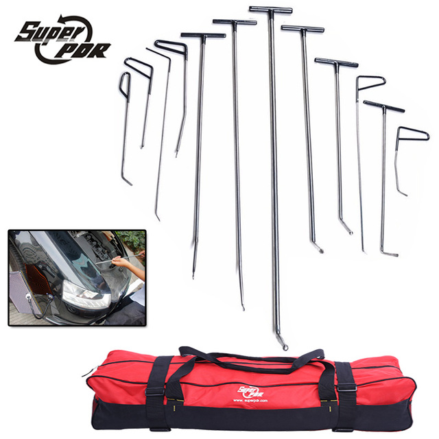 PDR Rods Hooks Tools 12pcs Repair Car Tool Paintless Dent Repair Spring Steel Rods Hooks for Sale High Quality