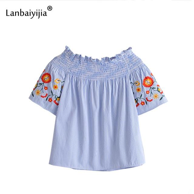 dfc27ca0000d64 Lanbaiyijia niebieski biały w paski koszule haft kwiaty z krótkim rękawem  Slash Neck kobiety bluzka krótkie