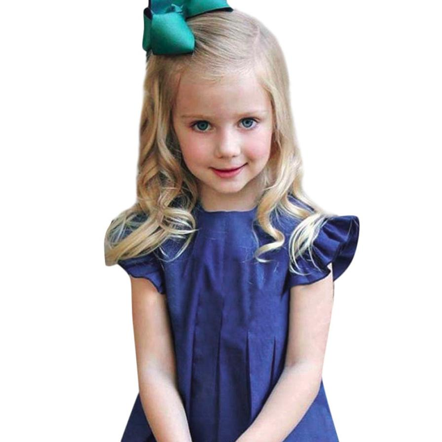 Magnificent Toddler Kids Baby Girl Clothes Soild Fly Sleeve Ruffles Pageant Princess Dresses Childrens Set Kids Vestido Cloth