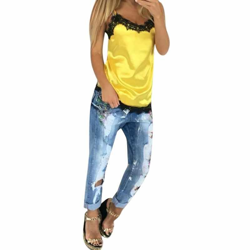 Модные сексуальные женские кофточки Летние повседневные кружевные лоскутные топы без рукавов топы футболки