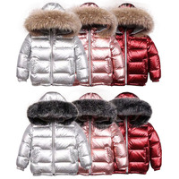 white duck down feather real fox raccoon natural fur collar girl winter jacket coat children kids short snowsuit clothes 6 8