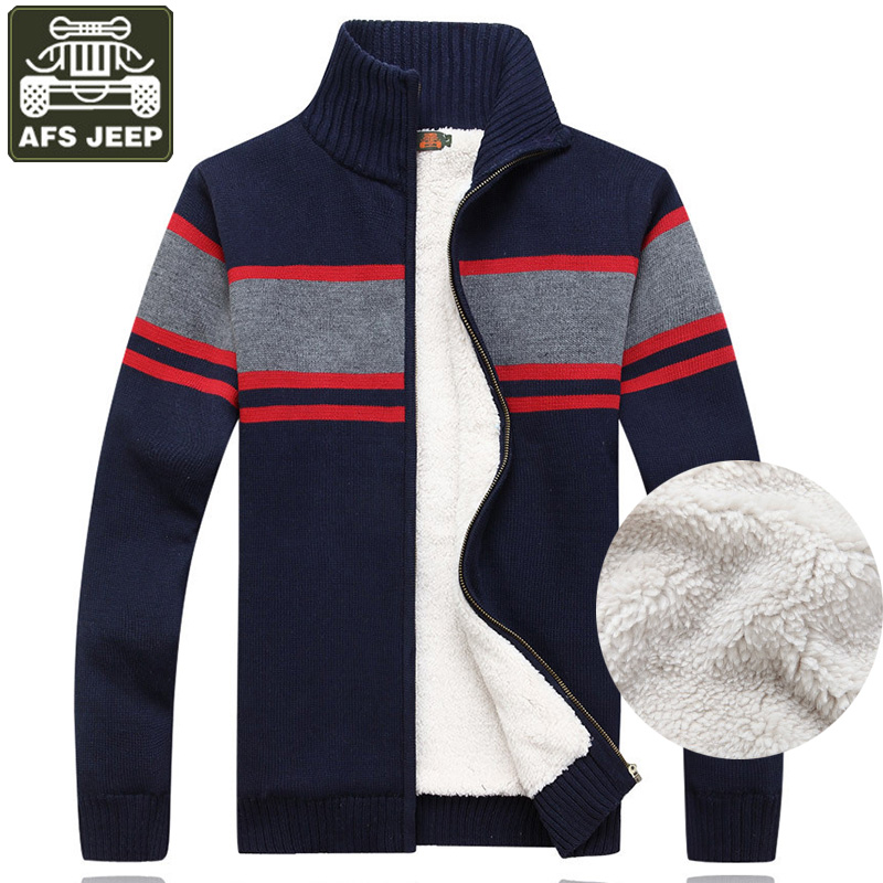 AFS JEEP Homme Pull Cardigan Homme hiver chaud Pull polaire Patchwork col Mandarin Cardigan hommes col roulé Pull Homme