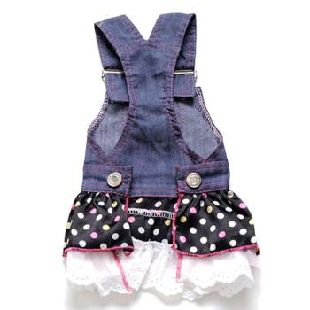 Summer Pet Dog Dress Cat Strap Cute Dot Puppy Jean Dress Apparels Size XS-XL 1