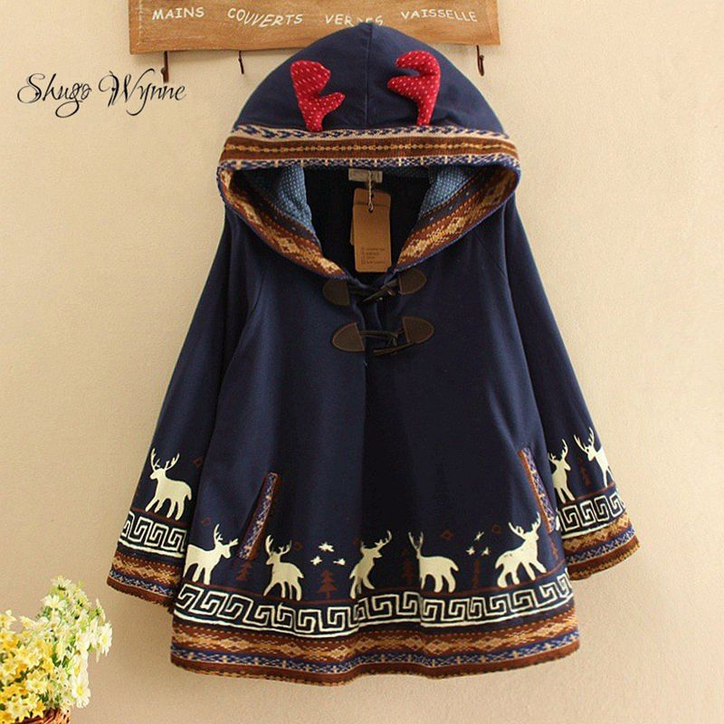 Shugo Wynne Mori Girl Cloak Jacket Autumn Women Cute Cartoon Deer Ear Hooded Loose Cape Coat Print Cotton Casual Cloak Outerwear
