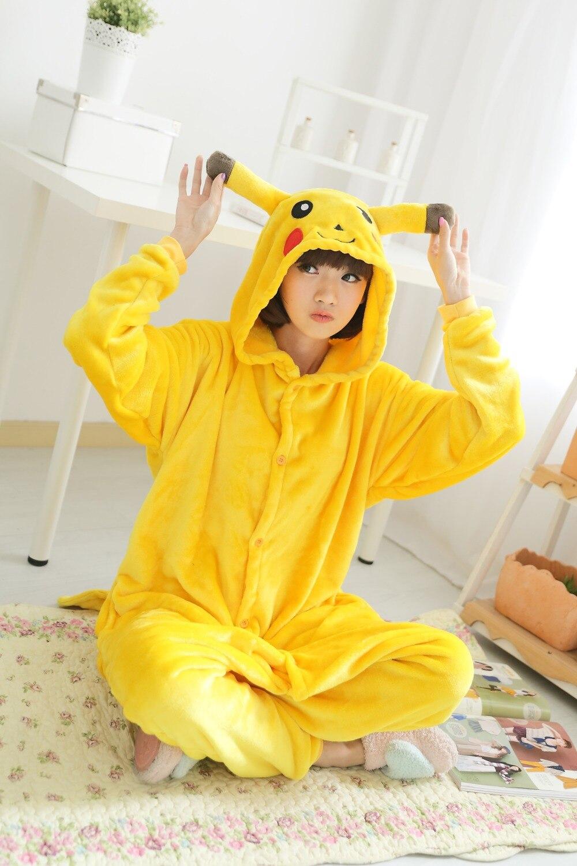 New Unisex Adult Flannel Pajamas Animal Pyjama Suits Cosplay Adult Winter Garment Cute Cartoon Animal Pajama Pikachu