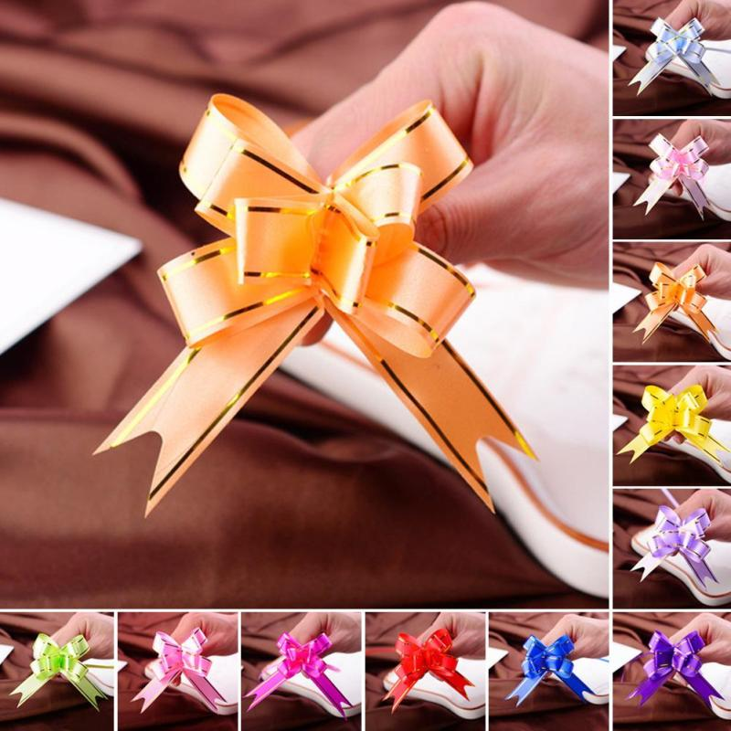 10 Pcs Novelty Mini Cute Flower Butterfly Party Decor Golden Edge Wedding Garland Pull Bows Ribbon Hand Flower Gift Garland V3