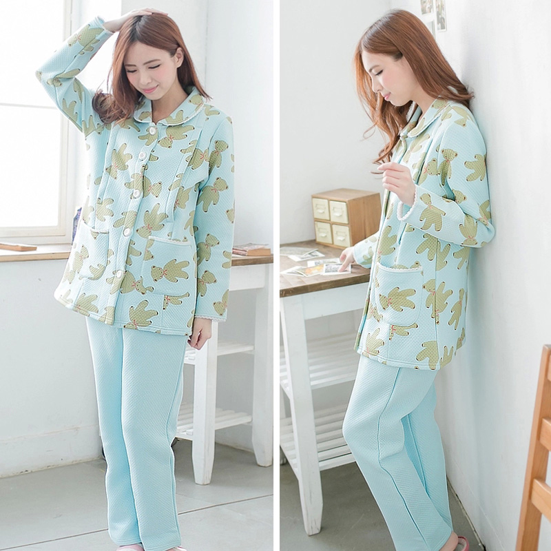 ФОТО MamaLove Winter Maternity pajamas Thermal Maternity Nightgown Maternity Pajamas Sweatshirt Nursing Sleepwear for Pregnant Women