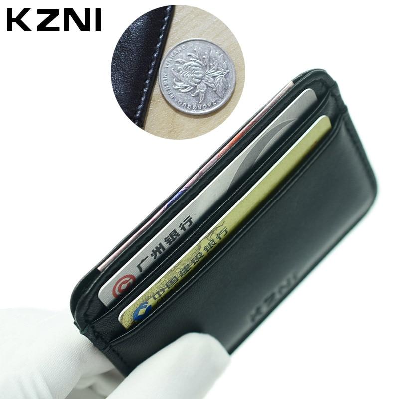 KZNI äkta läder kreditkort plånböcker företag män kort hållare äkta läder 100% fårskinn