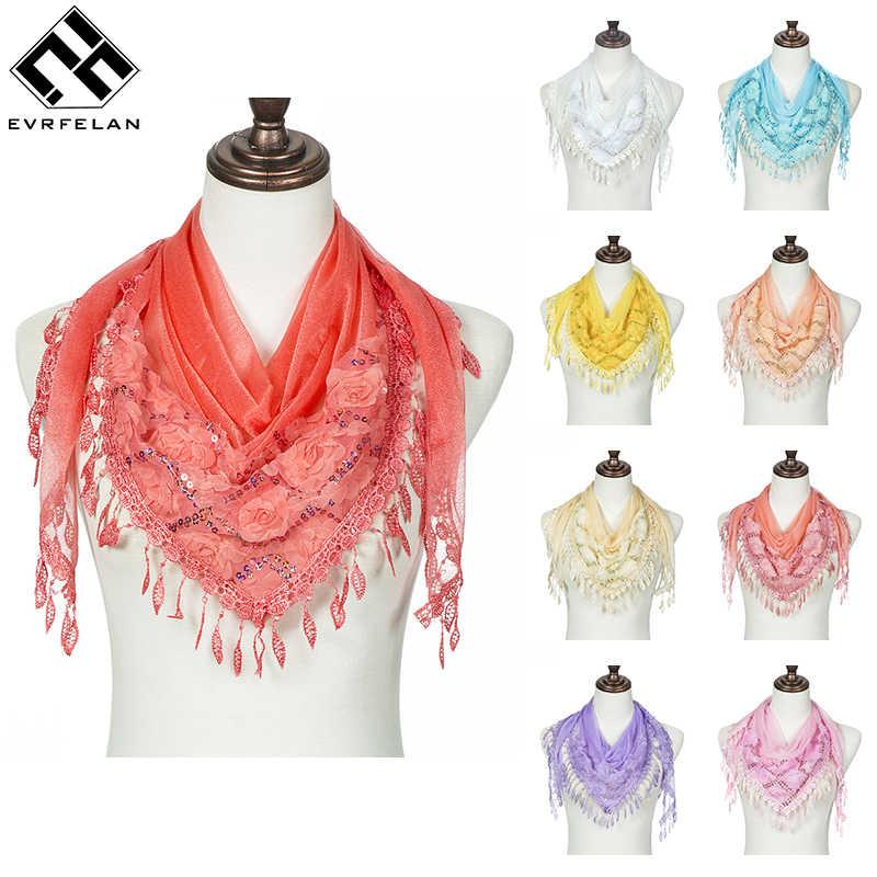 Evrfelan moda mujer niñas bufanda cuadrada encaje Material bufandas para damas bufanda fina y chal decoración cuello desgaste 150*90*90cm