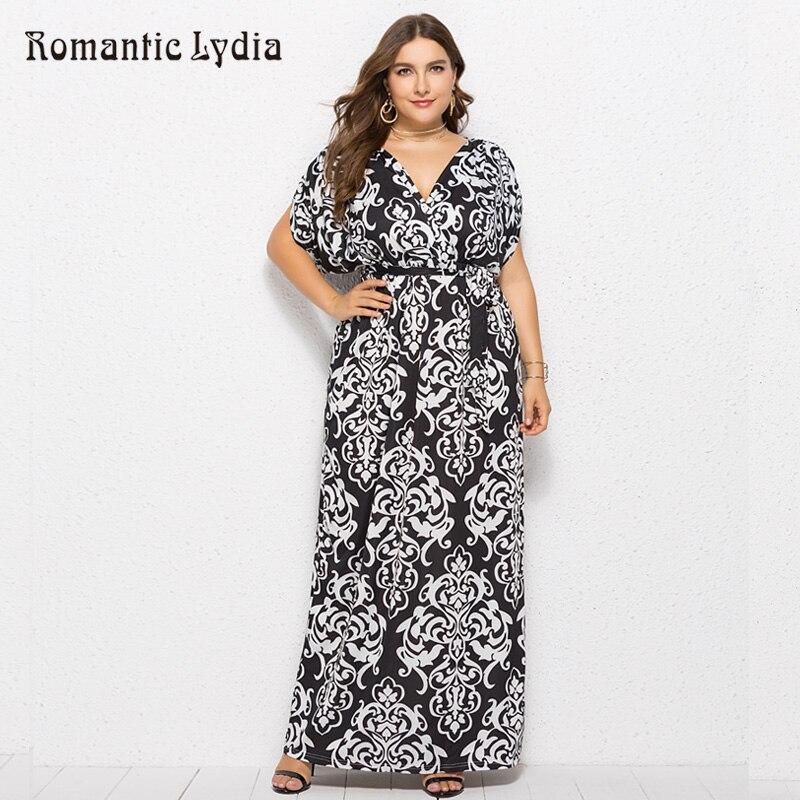 Women Autumn V Neck Flower Floral Print Dresses Large Sizes Loose Floor length  Maxi Dress Plus 9b4ceeb8952b