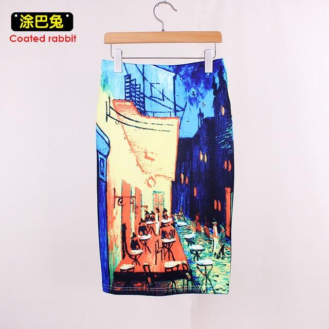 Women Spring Summer Style Pencil Skirt High Waist Skirts Vintage Elegant Bodycon Painting Print Midi Skirt 1