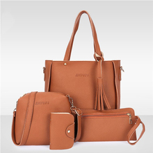 Famous Brand Women 4pcs/set Tassel Handbags Top-handle Fashion Lady Messenger Handbag Set Pu Leather Composite Bags Bolsa Femina