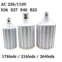 Süper Parlak Lampada LED Lamba E26 E27 E40 B22 5730 5630 SMD LED Mısır Ampul AC 220 V 110 V 176/216/264 leds Aydınlatma Ev Dekorasyon