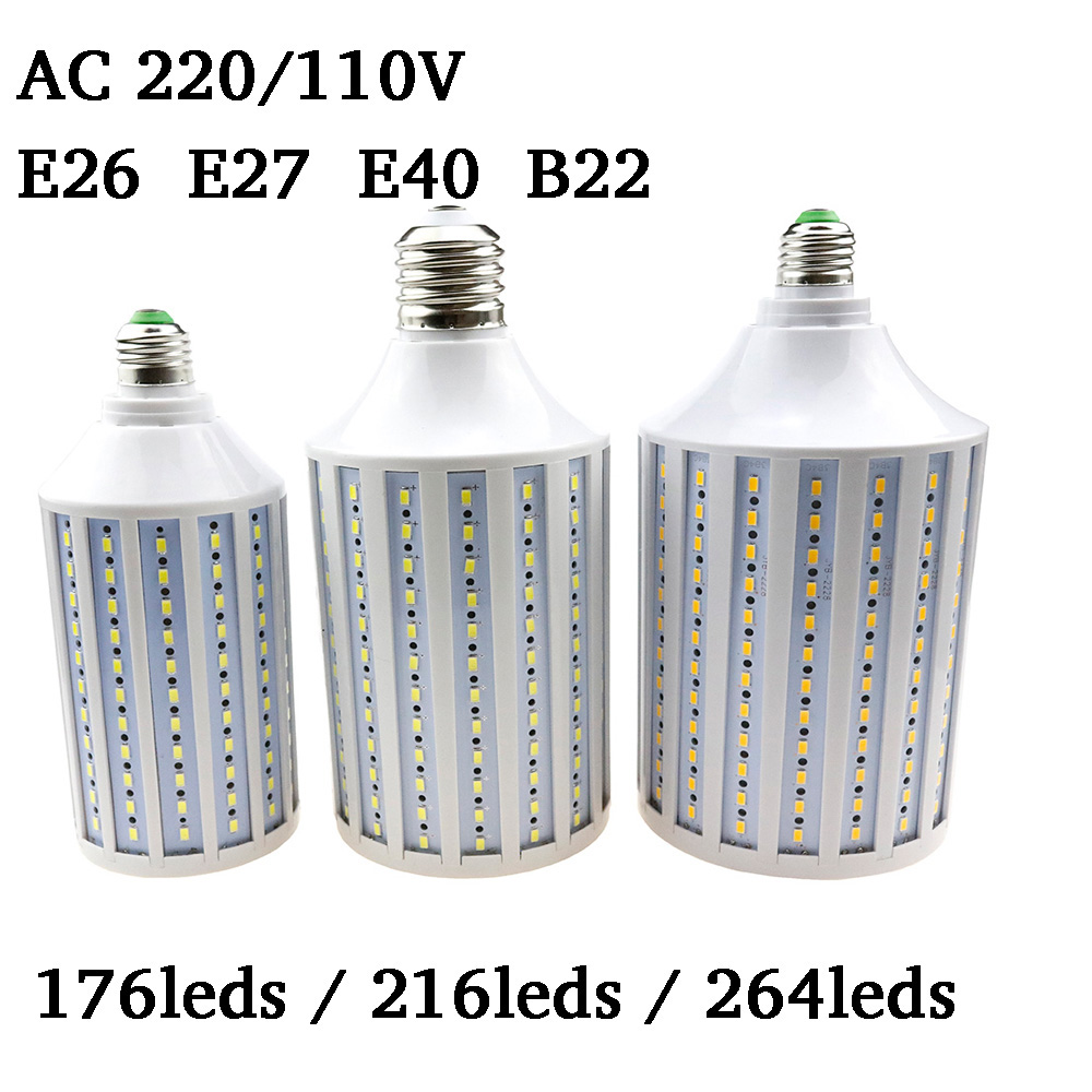 Super Bright Lampada LED Lamp E26 E27 E40 B22 5730 5630 SMD LED Corn Bulb  AC 220V 110V 176/216/264leds Lighting Home Decoration super bright led corn bulb e27 e40 b22 60w 80w 100w 120w 360 angle smd 2835 led lamp lighting for streetlight 100 300v