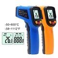 Цифровой лазерный ИК инфракрасный термометр измеритель температуры ЖК-термостат-50 ~ 600C -50 ~ 400C C/F Цельсия пирометр Бесконтактный