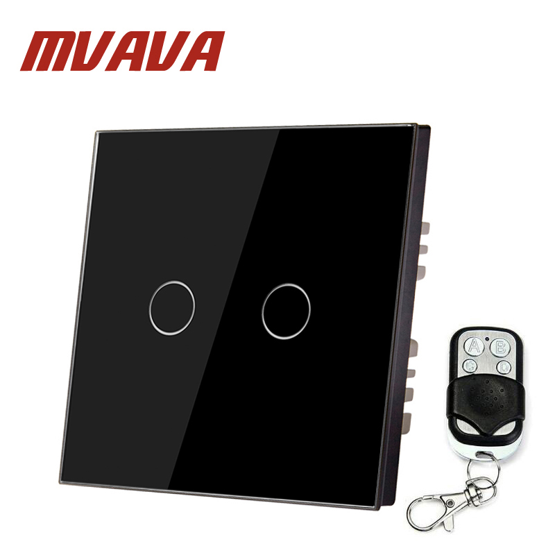 MVAVA EU standard Wall Switch 2 Gang 1 Way Control Black Crystal Glass Panel Remote Control Wall Light Touch Screen Switch smart home luxury crystal glass 2 gang 1 way remote control wall light touch switch uk standard with remote controller