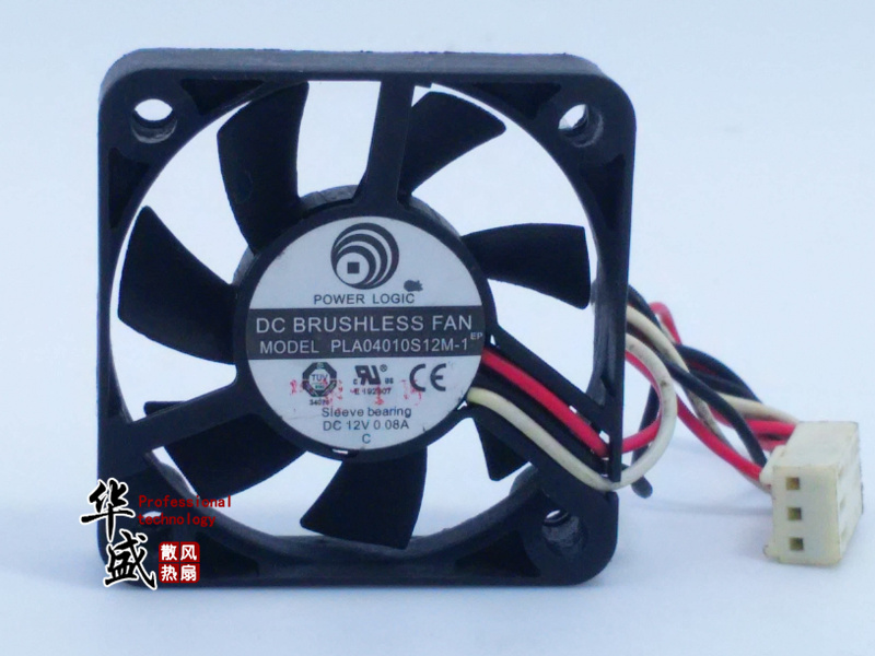 Free Shipping For A-POWER PLA04010S12M-1 DC 12V 0.08A 3-wire 3-Pin connector 80mm 40x40x10mm Server Square Cooling Fan