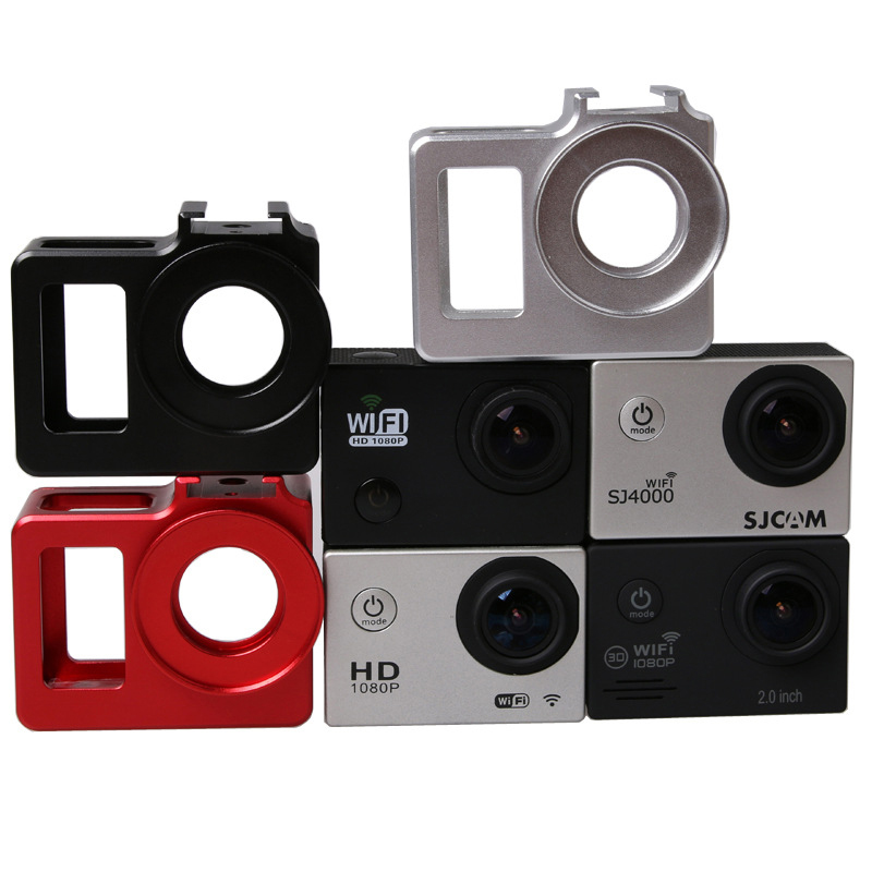 Купить с кэшбэком SJCAM SJ4000 frame Case Metal Alloy housing cage Shell + Len UV filter for SJCAM sj4000 wifi sj7000 sj6000camera accessories