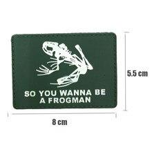 955ae04566676 Yeşil Silika jel Frogman PVC Yamalar Askeri Taktik Kol Bandı Kauçuk Rozeti  Kanca & Döngü Rozetler Giyim Ceket Sırt Çantası Için .