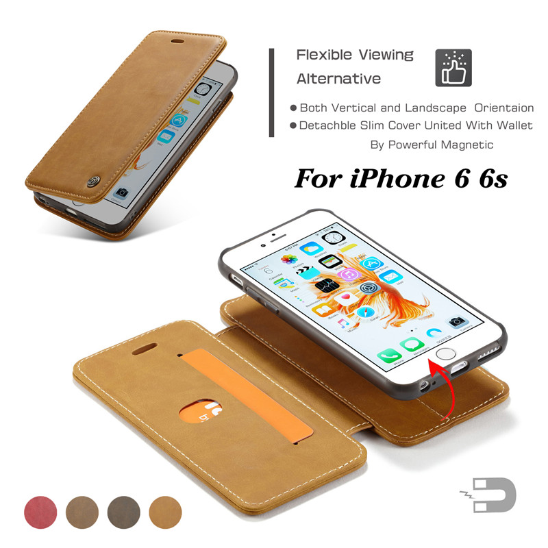 Caseme Марка съемный Пояса из натуральной кожи чехол для iPhone 6 6S 2 в 1 флип Слот для карты с кольцом Стенд Крышка для apple чехол для iPhone 6