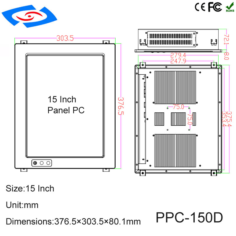 """Image 5 - 2018 New Arrival 15"""" Industrial Panel PC Touch Screen Dual Core Processor Cheap Price With Resolution 1024x768 Application Bank-in Industrial Computer & Accessories from Computer & Office"""