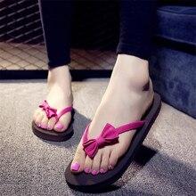 Free shipping Korean summer antiskid sweet butterfly-knot flat bottom slippers sandy beach flip flops