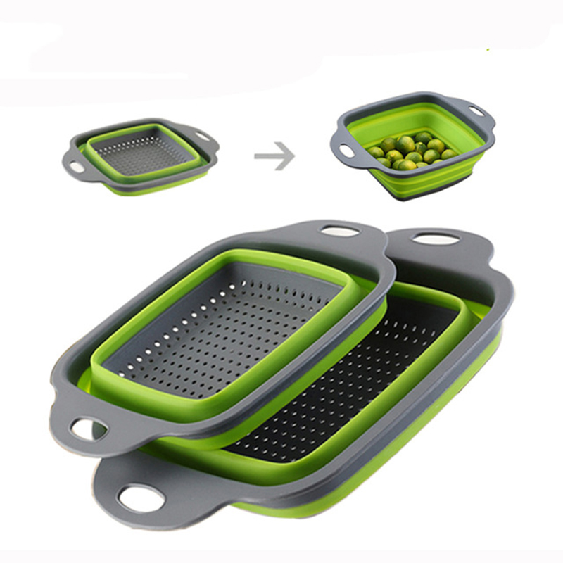Square Shape Drain Basket Collapsible Colanders Foldable Silicone Kitchen Organizer Fruit Vegetable Baskets Folding Strainers