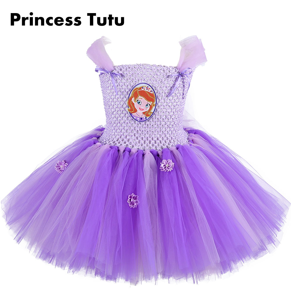 2017 Purple Color Baby Girl Princess Sofia Knee Length Cosplay Tutu Dress Flowers Girl Ruffle Vintage Birthday Party Dresses purple girl flowers long section tutu dress 5y birthday princess dress girl dress 6 y holiday evening dress