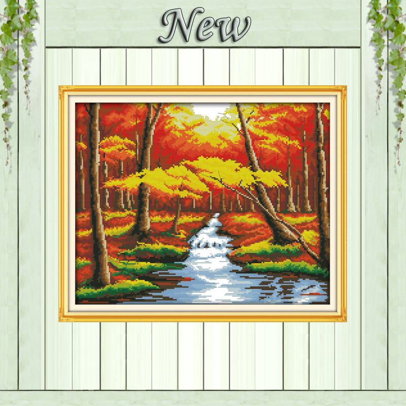 The forest river Autumn scenery,Pattern Printed on canvas DMC 11CT 14CT Cross Stitch kits,needlework Sets embroidery,Home Decor