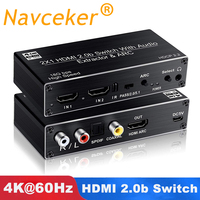 2019 Best 4K 60Hz HDMI Switch 2x1 HDMI 2.0 Switch 2 Port HDMI Switch Remote with Toslink Optical & RCA 4K HDMI Switch Switcher