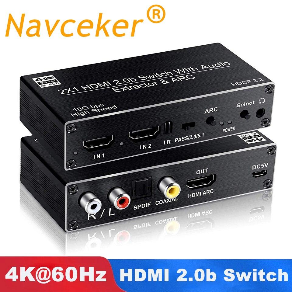 2019 Best 4K 60Hz HDMI Switch 2x1 HDMI 2.0 Switch 2 Port HDMI Switch Remote with Toslink Optical & RCA 4K HDMI Switch Switcher