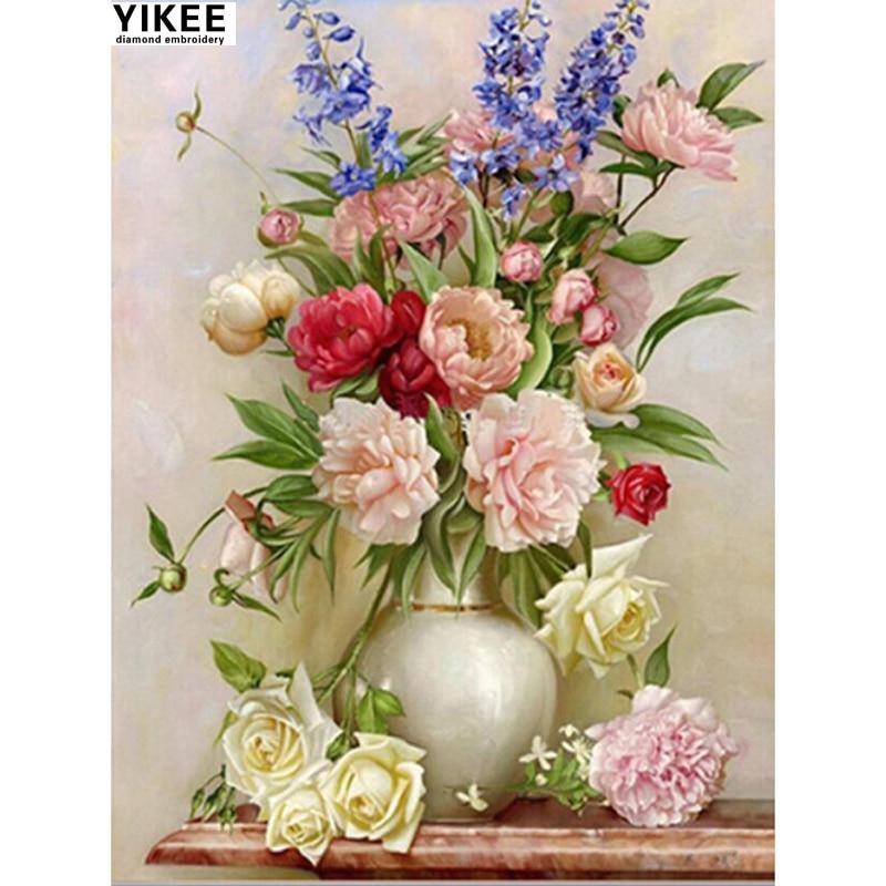 YIKEE 6020 diamantové malířské květiny, kutilství, pivoňka, drahokam, malba, kosočtverečné výšivky