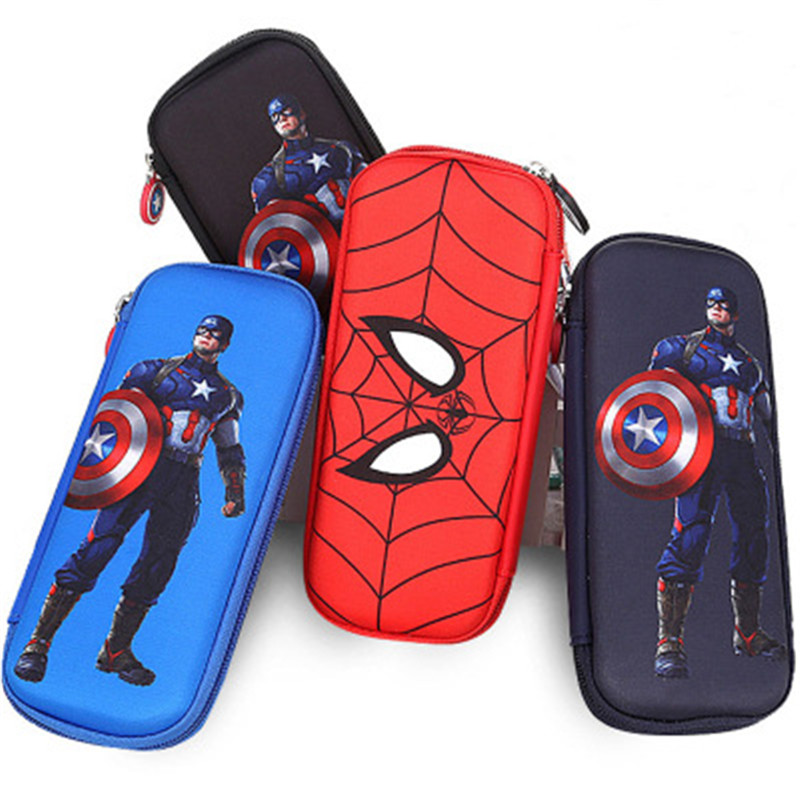 New School Supplies Stationery Box Hard Pencil Case High-capacity Pencil Case Spiderman Pencil Case Captain America Stationery